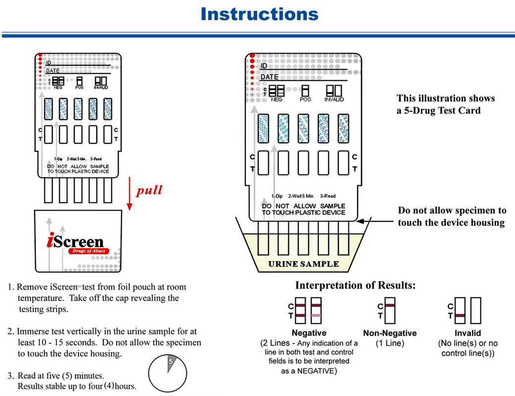 iscreen one step drug test dip card instructions